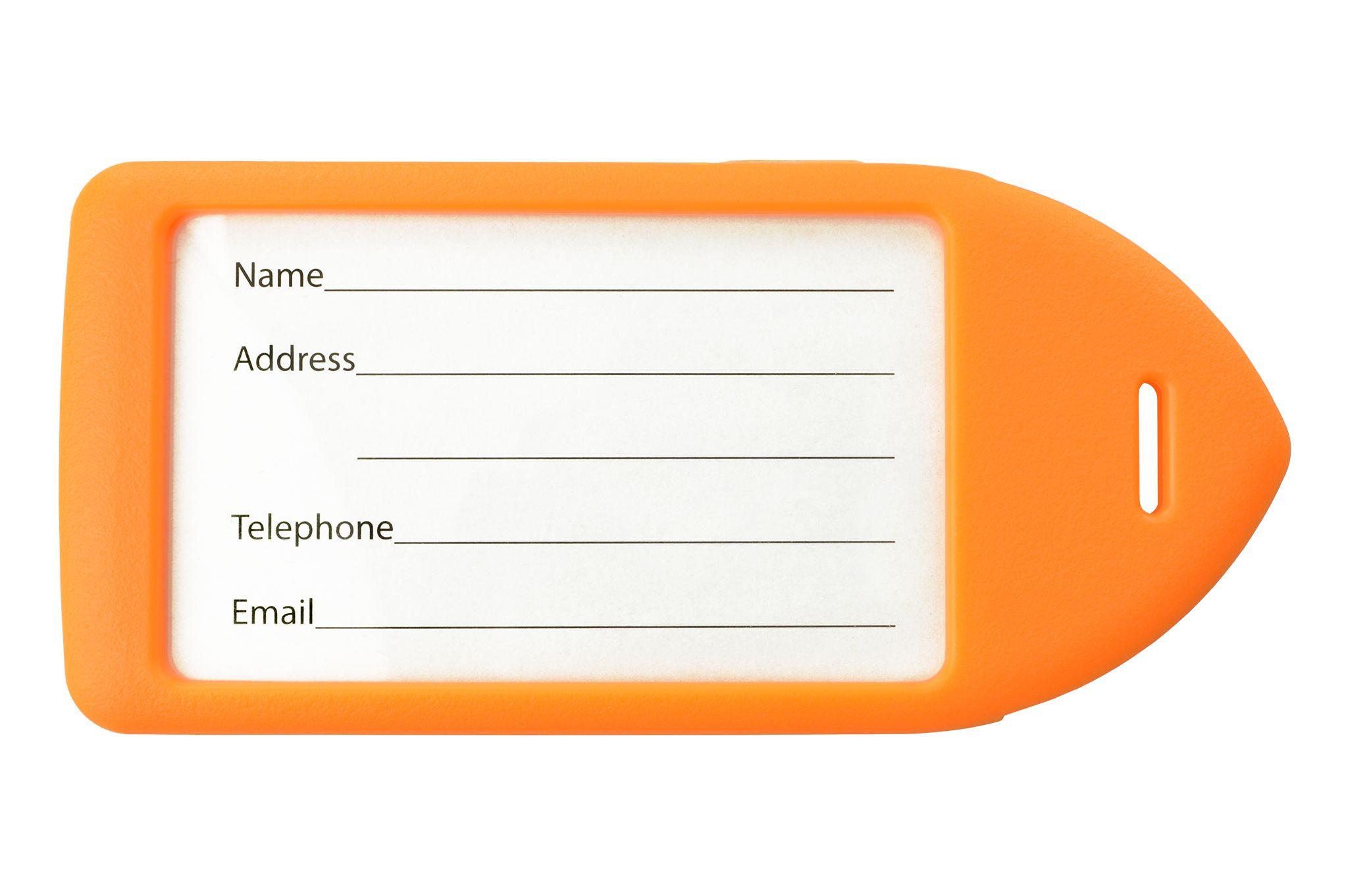 Neon Orange Rigid Plastic Luggage Tag Holder
