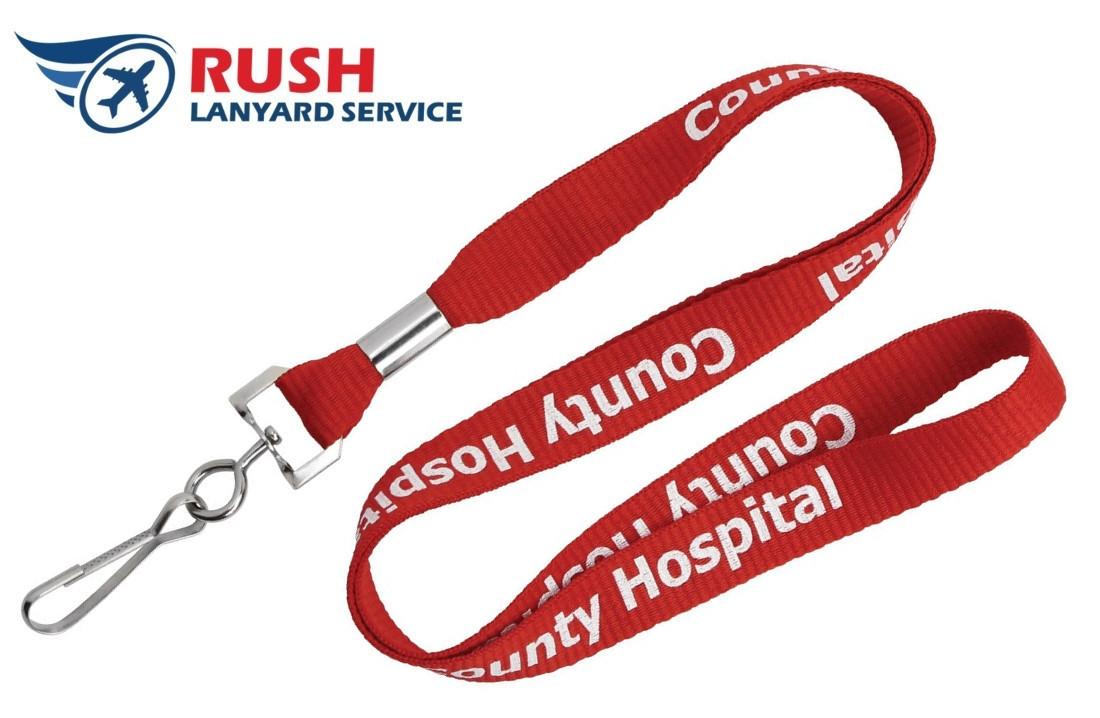 "PH10-1-EX Custom Silk Screen Custom Flat Ribbed Polyester Lanyard (1"", Rush Lanyard Service)"