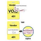 """Reusable Yellow Voidbadge Seq # 401-500 """"VENDOR"""" - 06535"""