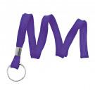 "Purple 3/8"" (10 mm) Lanyard with Nickel-Plated Steel Split Ring"